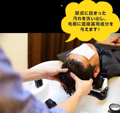 頭皮に詰まった汚れを洗い出し、毛根に直接薬用成分を与えます!